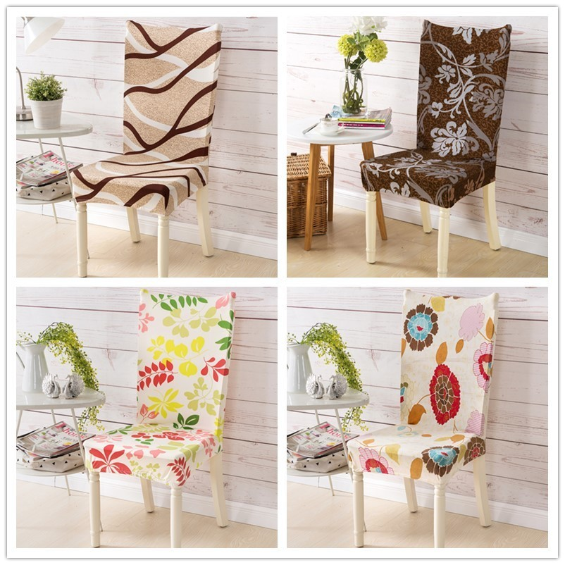 Banquet Pastoral Chair Covers Spandex Fabric Floral Pattern Hotel Wedding Party Folding Slipcovers Dining Room