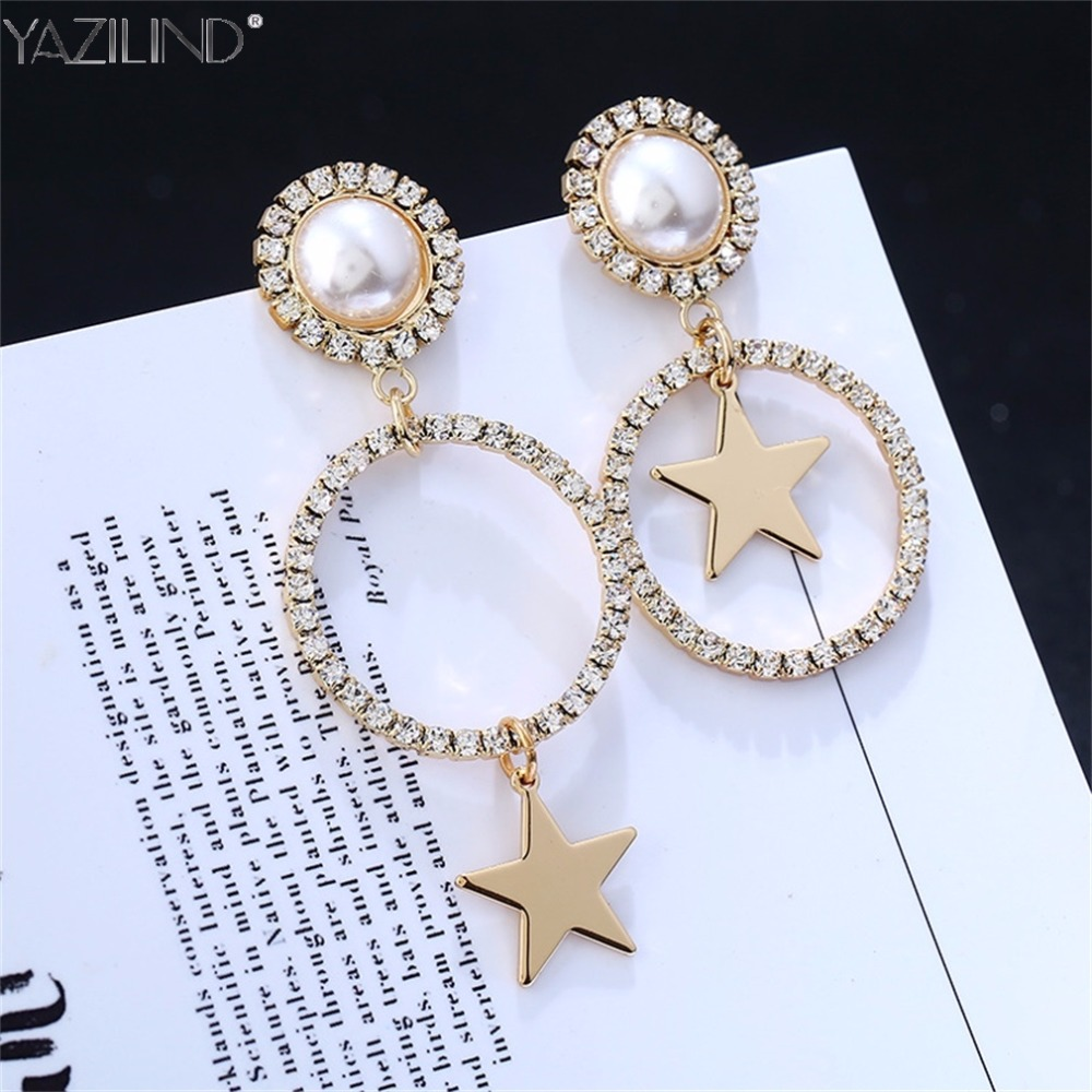 Fashion Gold Austrian Crystal Earrings for Women 2017 Simulated Pearl Jewerly Star Boucle doreille Christmas Gift