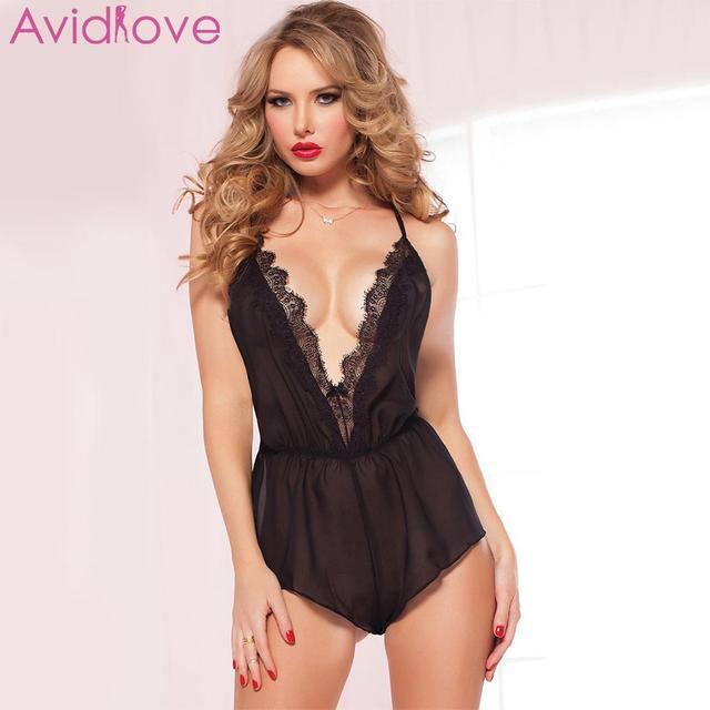 c9759fca1d Avidlove Erotic Lingerie Baby Dolls Bodysuit Sexy Spaghetti Strap Neck  Jumpsuit V Cross Sexy Lace Women Patchwork Deep Backless