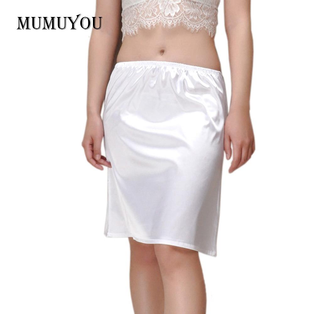 Frauen Satin Halb Slip Unterrock Midi Petticoat Lose Fit Sexy Unter Kleid Sommer Casual Wear Weiß/Schwarz/Champagne 45cm 038-656