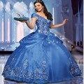 Novo 2017 Azul Quinceanera Vestidos de Bola Vestidos com Decote Em V bordados sweet 15 vestidos vestidos de 15 vestidos de baile formais QA722