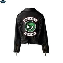 New Riverdale PU Printed Logo Southside Riverdale Serpents Jackets Women Riverdale Serpents Streetwear Leather Jacket Custom