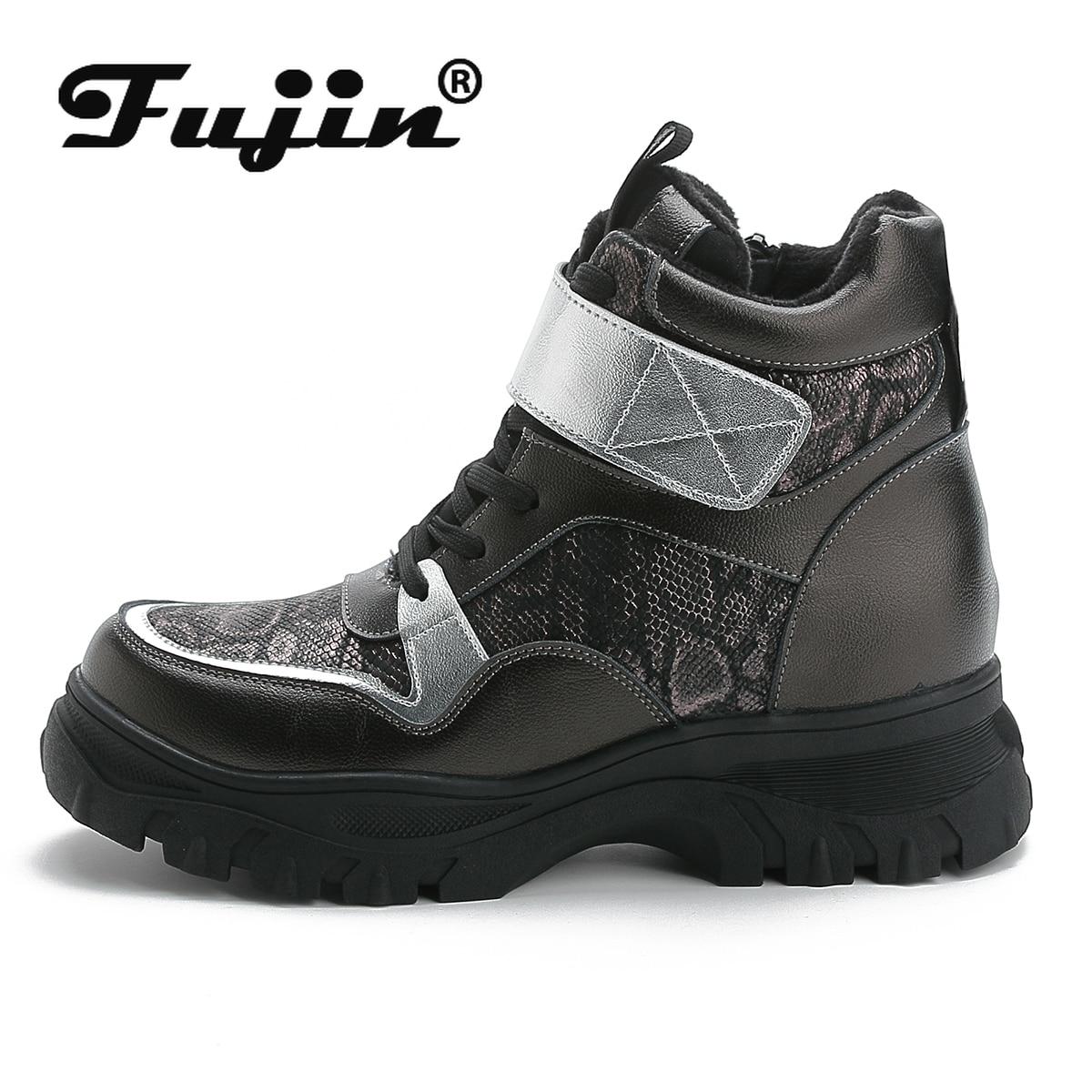 Fujin Women Boots Plush-Platform Female Waterproof Winter Zip Magic-Tape Keep-Warm