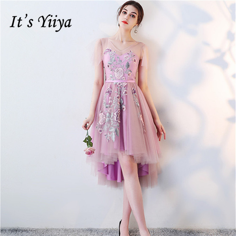 It's YiiYa   Bridesmaids     Dresses   V-Neck Flower Embroidery Tulle Formal   Dress   High/Low Elegant Lady Fashion Designer LX1005