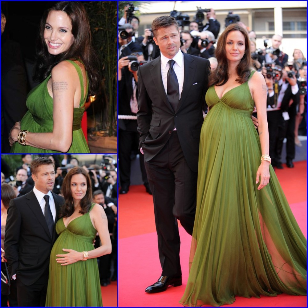 Elegant spaghetti strap chiffon ruched green angelina jolie red elegant spaghetti strap chiffon ruched green angelina jolie red carpet dresses plus size maternity celebrity evening dress in celebrity inspired dresses ombrellifo Images