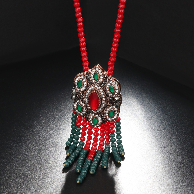 Kinel bohême gland pendentif collier pour femmes Antique or Style ethnique avec pierre Suspensions Long collier Vintage bijoux