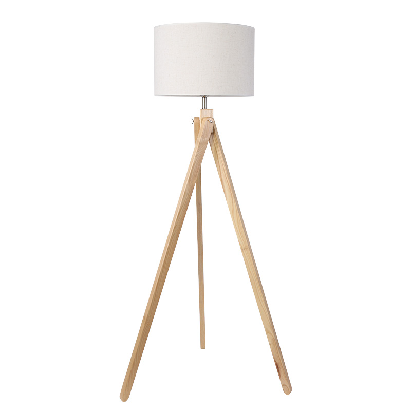 Free shipping standing lamp Wood leg Fabric lampshade Floor Lamp Living  Room Bedroom Restaurant 9W E27 warm white Floor light - White Wood Floor Lamp Promotion-Shop For Promotional White Wood