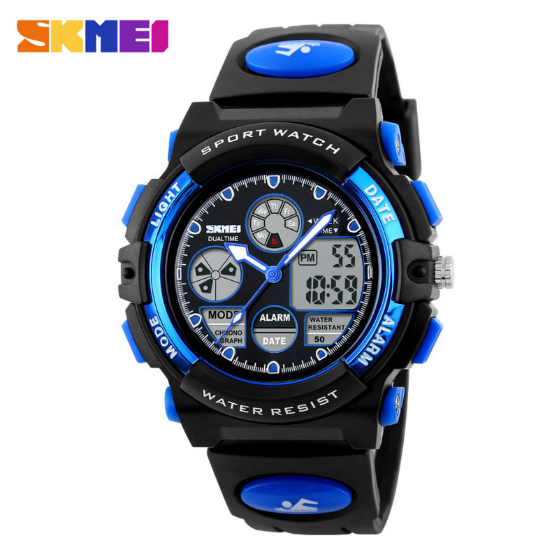 SKMEI Kids Sports Watches Children For Girls Boys Waterproof Military Dual Display Wristwatches LED Waterproof Watch 1163 skmei children led display digital watch 50m waterproof kids sports watches multifunction electronic boys students wristwatches