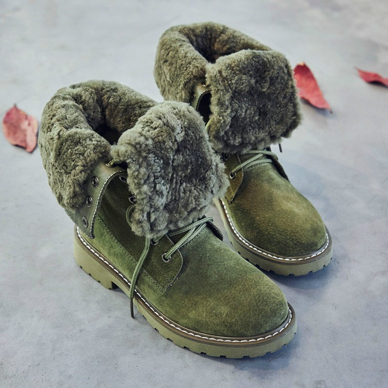 67d3dfd730 Genuíno Bota Martin Tornozelo Preto De Couro Quente Da Mulher Mulheres Moda  Mujer Botas Neve Outono Pele verde Sapatos ...