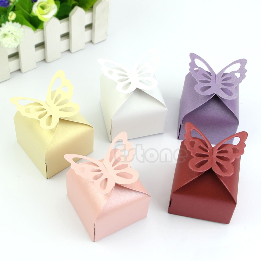 50pcs Butterfly Style Favor Gift Candy Cake Boxes For Wedding Party ...