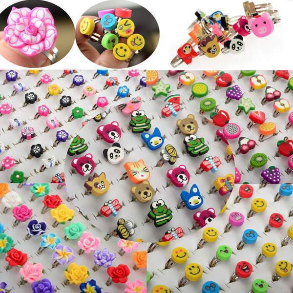 10pcs Wholesale Lots Bulk Mixed Polymer Clay Children Kids Boys Finger Rings Fre