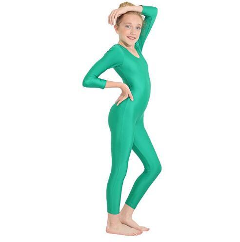 a79b17d35f3c Icostumes Girls Black Long Sleeve Unitard Boys Bodysuit Spandex Lycra Full  Body Ballet Jumpsuit Scoop Neck Dance Costumes