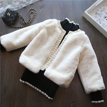 New Winter Girls Fur Coat Elegant Baby Girl Faux Fur Jackets Thick Warm Parka Kids Outerwear Clothes Girls Coat with Pearl CT027 new winter girls fur coat elegant baby girl faux fur jackets and coats thick warm parka kids outerwear clothes girls coat