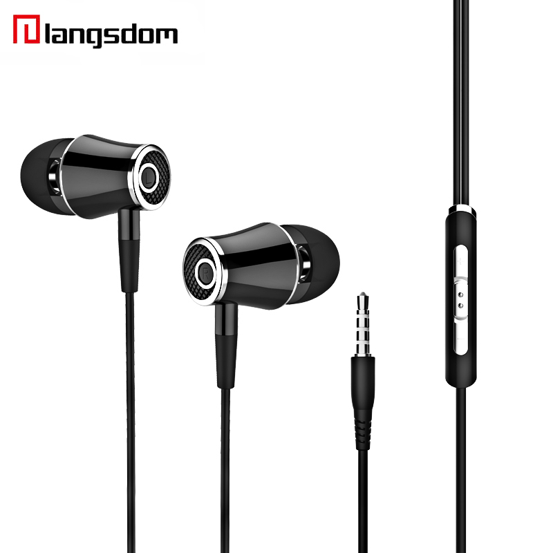 Langsdom E2 In-ear Earphone For Phone Stereo Earbuds With Microphone 3.5MM Wired Earphones HIFI Headset For Android IOS metal wired earphone high bass dual drive hifi in ear earphones with microphone sport headset earbuds for iphone xaiomi samsung