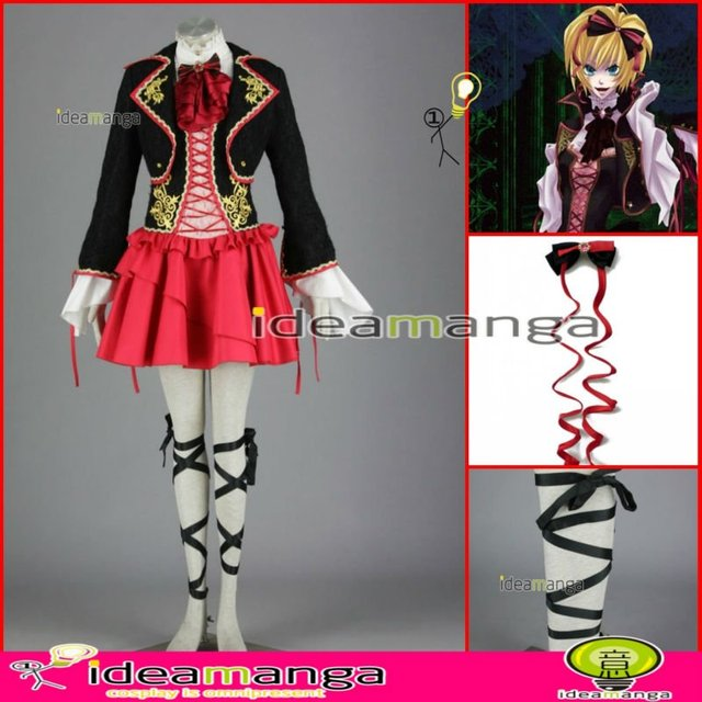 [ideamanga]Manga Amime V+ VOCALOID Gothic style Kagamine Rin girl's Cosplay Costume Female halloween party dress Any Size