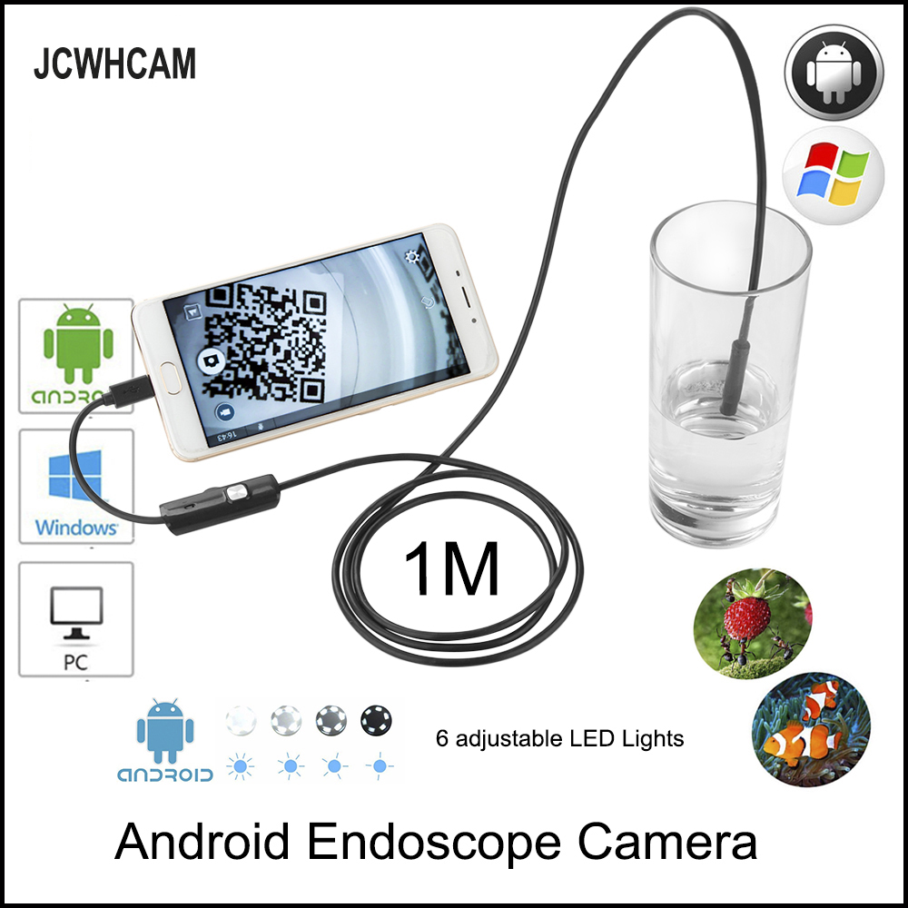 цена JCWHCAM 8mm Waterproof PC Android Endoscope Camera with 6LED Len OTG Micro USB Endoscopy Borescope for PC Android Phone