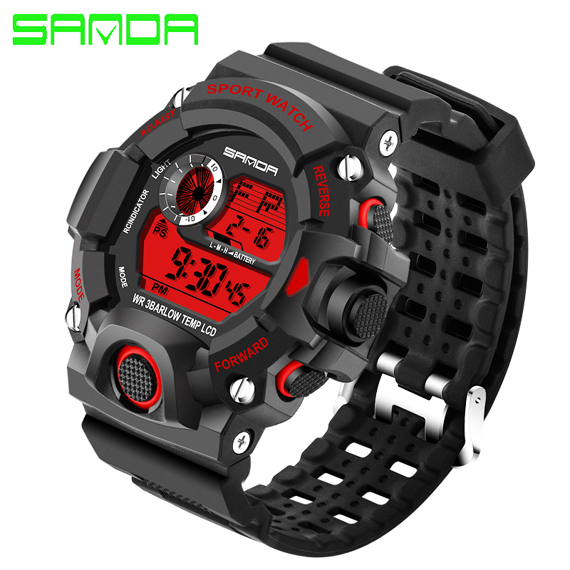 SANDA Men's Watch New Outdoor Casual Digital Watch Fashion Men's Sports Watch LED Quartz Clock relogio masculino