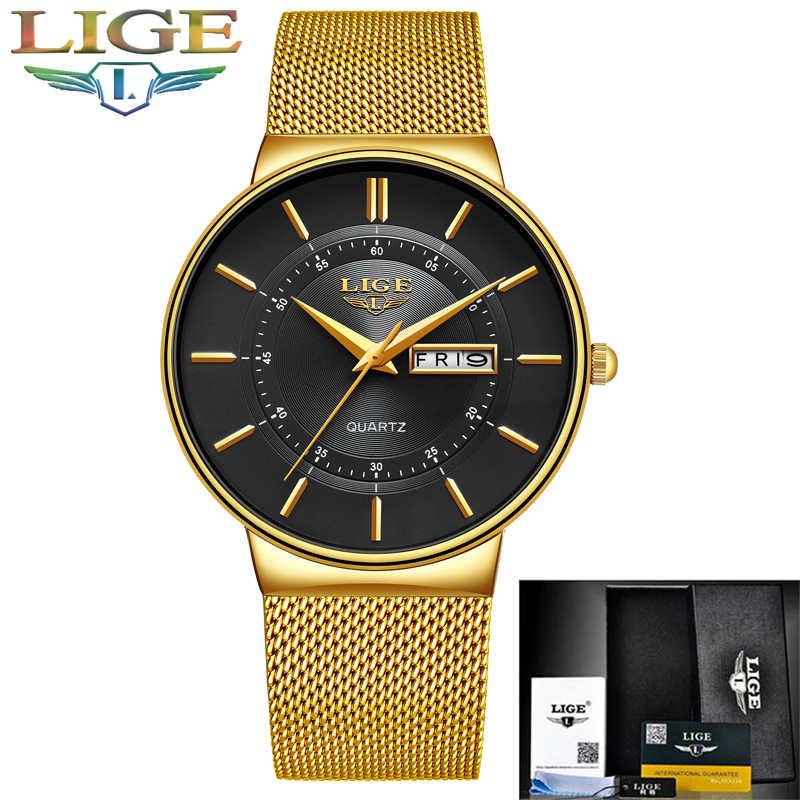 Relogio Masculino 2020 LIGE New Mens 시계 탑 브랜드 럭셔리 울트라 씬 쿼츠 시계 남성 스틸 메쉬 스트랩 방수 골드 시계