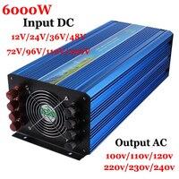 6000W Off Grid Inverter 12/24/36/48VDCto AC100/110/120V or 220/230/240V Pure Sine Wave Output Solar Wind Inverter 6000W