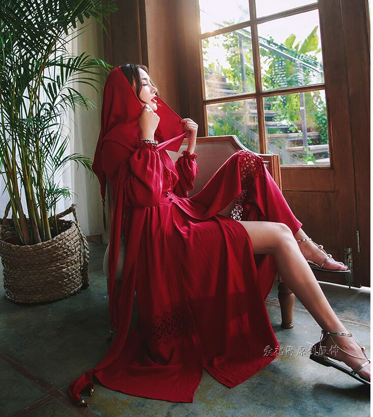 freeship red women/white linen long red hood wrap robe dress vintage medieval dress Renaissance Victoria dress/Marie long dress