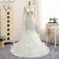 Fashionable Mermaid Wedding Dresses Long Sleeve High Neck Lace Bridal Gown Vestido De Noiva Plus Size