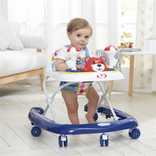 New  Baby Walker with Wheels Step Car with Toys Music Rocking Horse Foldable Pedal Brake Baby Learning Walking Assistant6-18M