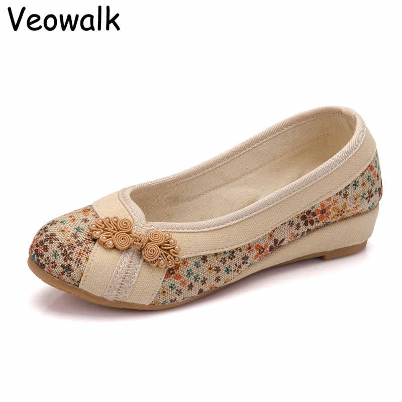 Veowalk Fashion Women's Casual Floral Linen Cotton Flat Comfort Shoes Slip on Ladies Canvas Waling Boat Ballets Zapatos Mujer