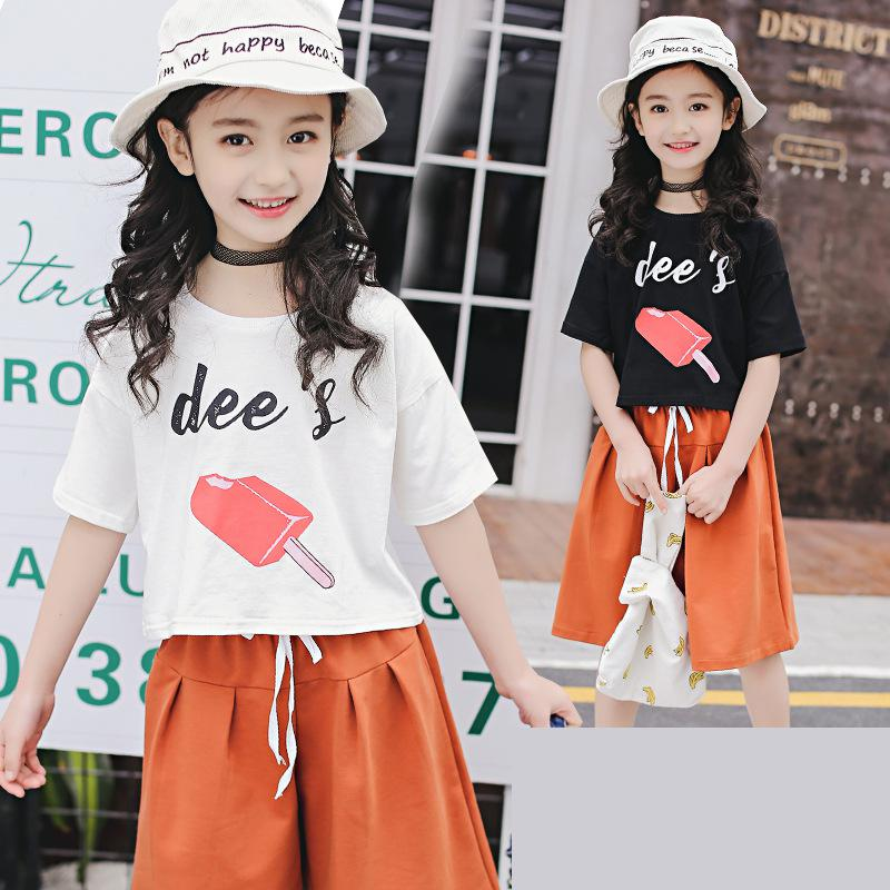 Fashion Baby Girls Clothing Sets New Summer 2018 Tops Tees T-shirts + Pants 2 Pcs Suit Casual Children Pullover Clothes 10 12 14 new 2015 summer children t shirts baby clothes child 100