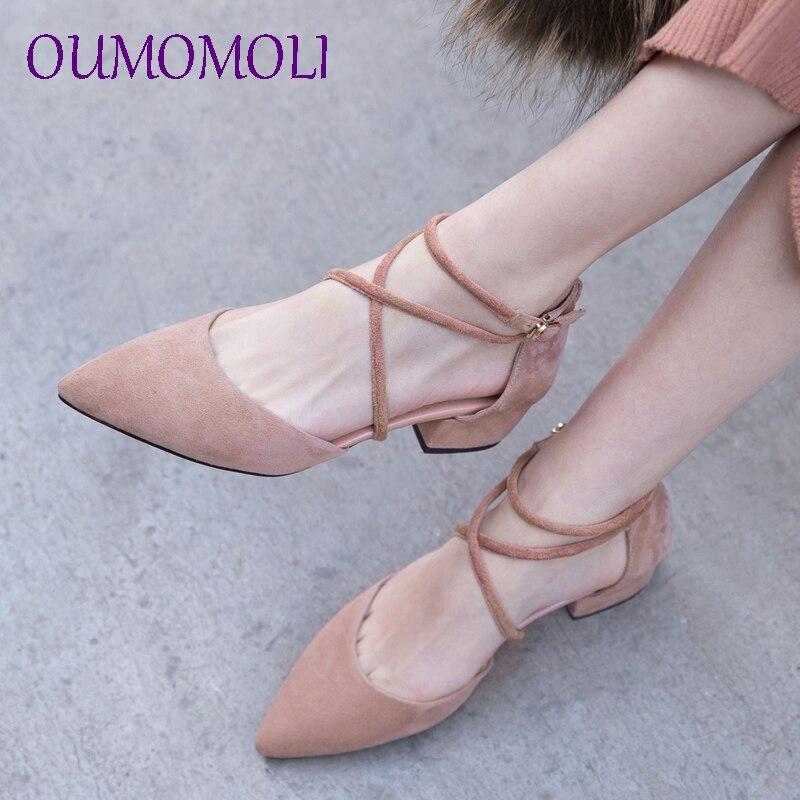 Été avec des chaussures simples creux bout pointu doux en peau de mouton femmes chaussures 2019 noir marron rose chaussures décontractées à talons bas d826