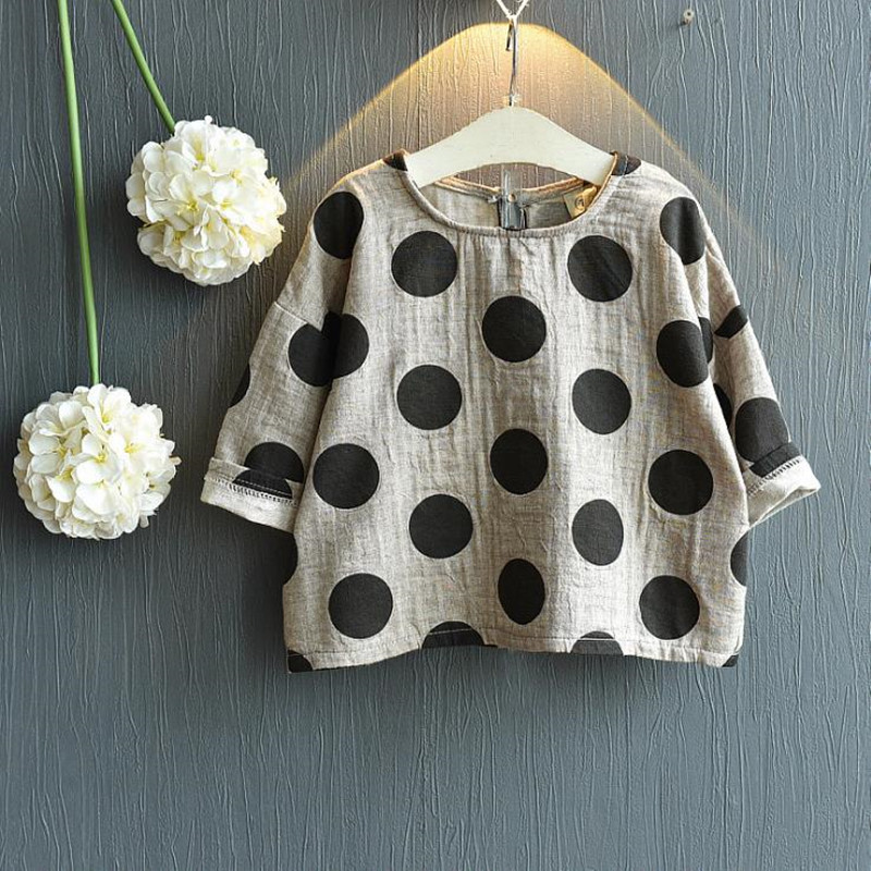 2018 Children Clothes Baby Boys Girls Full Sleeve Blouse Kids Polka Dot Top Shirt Cotton Linen Fashion Baby Clothes цены