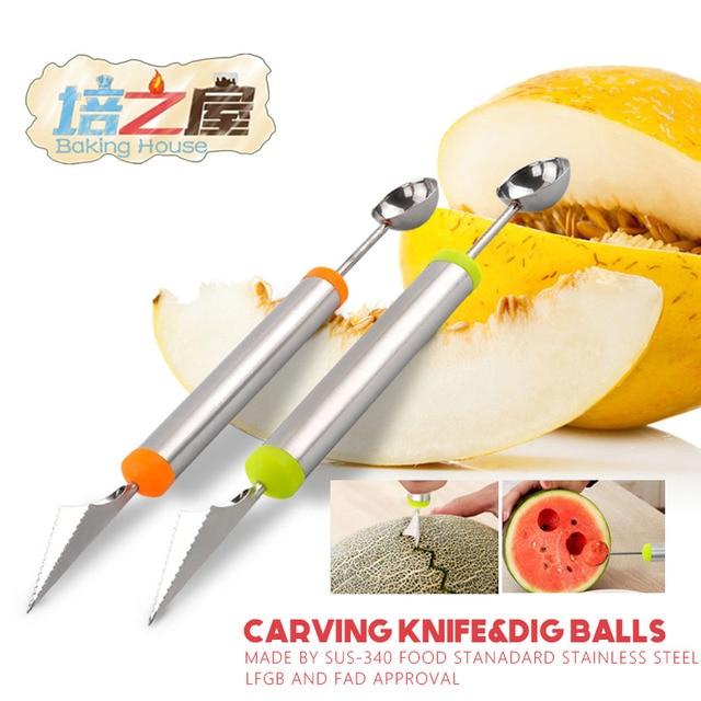 Edelstahl Obst Gemüse Muster Carving Garnierung Dig Ball Löffel ...