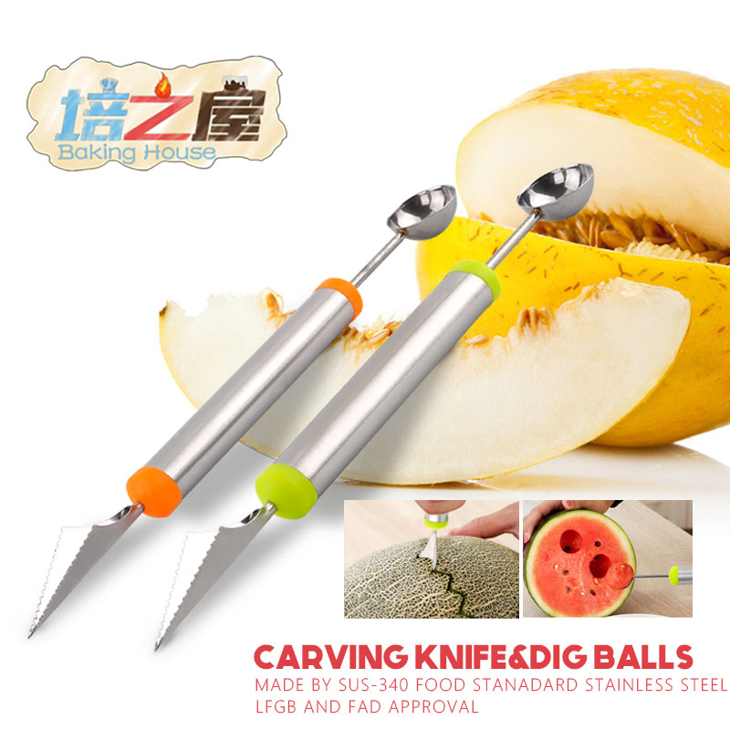 Stainless Steel Fruit Vegetable Pattern Carving Garnishing Dig Ball Spoon  Kitchen tools gadgets kitchen utensil