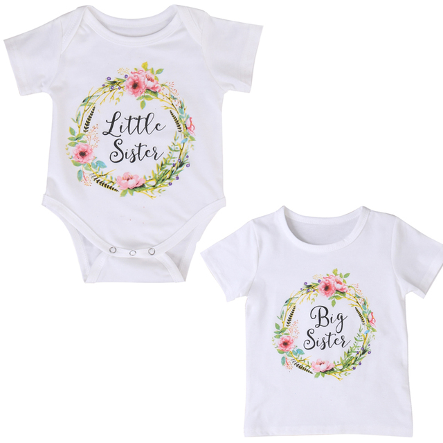 ac613796d 2018 Hot Summer Cute Baby Girls Clothes Short Sleeve Cotton Little Sister  Romper Big Sister T shirt Outfit Sisters Match Outfits-in Matching Family  Outfits ...