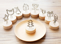 Natural Wood Wood Memo Pincer Clips Paper Photo Clip Holder Wooden Small Clamps Stand For Office