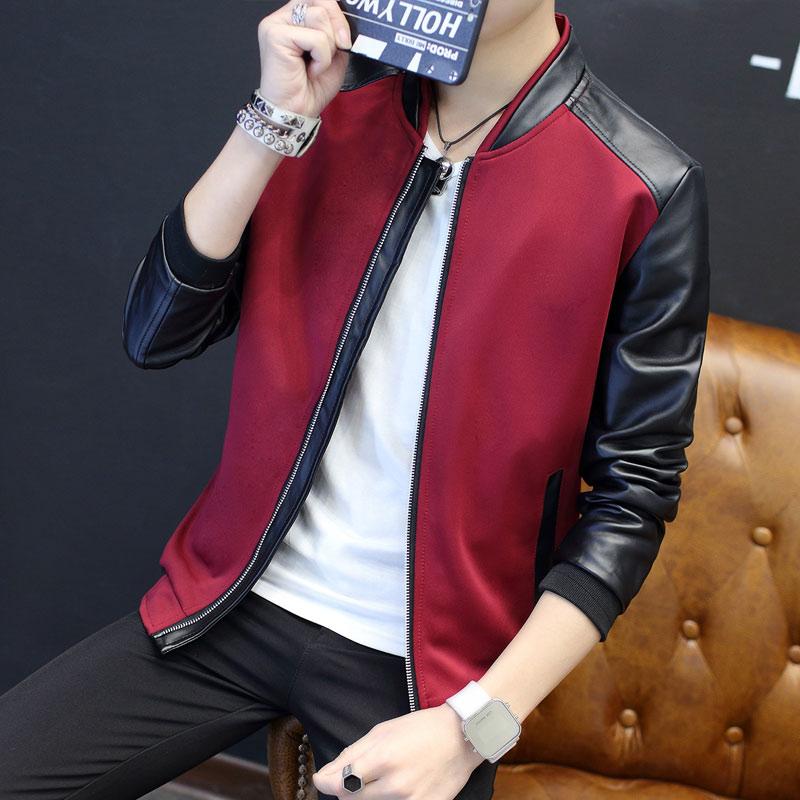 HO 2020 Man Autumn PU Leather Stitching Jacket Young Men Handsome Baseball Suit Slim