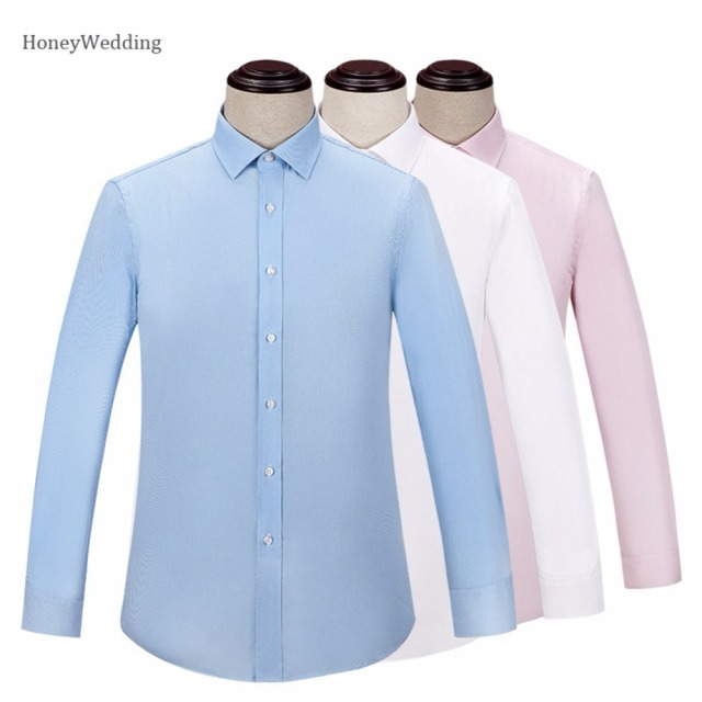 9711fd7b4c2b 2018 Summer Men Long Sleeve Shirt Slim Fit Men s Dress Shirts Solid Color  Casual Mane Work