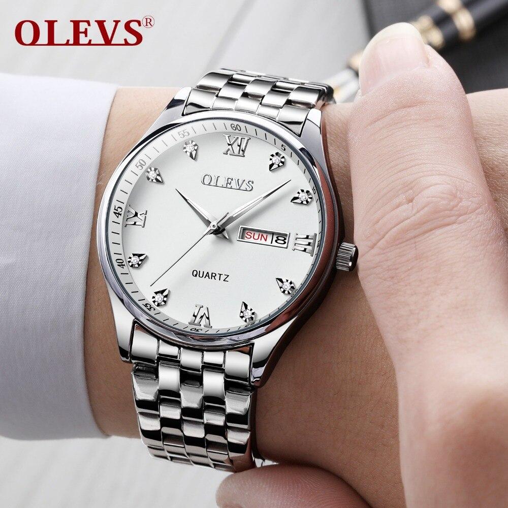f3ca8900185 Relojes para hombre reloj de los hombres de OLEVS superior de la marca de  lujo de cuarzo resistente al agua de pulsera de moda de acero inoxidable  reloj ...