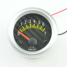 52mm carbon Tattoos brand white background light car engine oil pressure gauge 0-7 Bar Free Shipping
