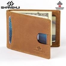 Винтаж Настоящая кожа Для мужчин зажим для денег RFID Блокировка долларов США тонкие карты карман мужской короткие Бумажники carteiras masculinas из воловьей кожи