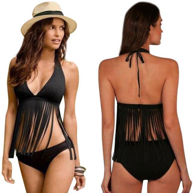 Summer Black Fringed Sexy Women Bandage Bikini Set Push-up Padded Bra Swimsuit Deep-V Low Waist Off-shoulder Bathing Suit