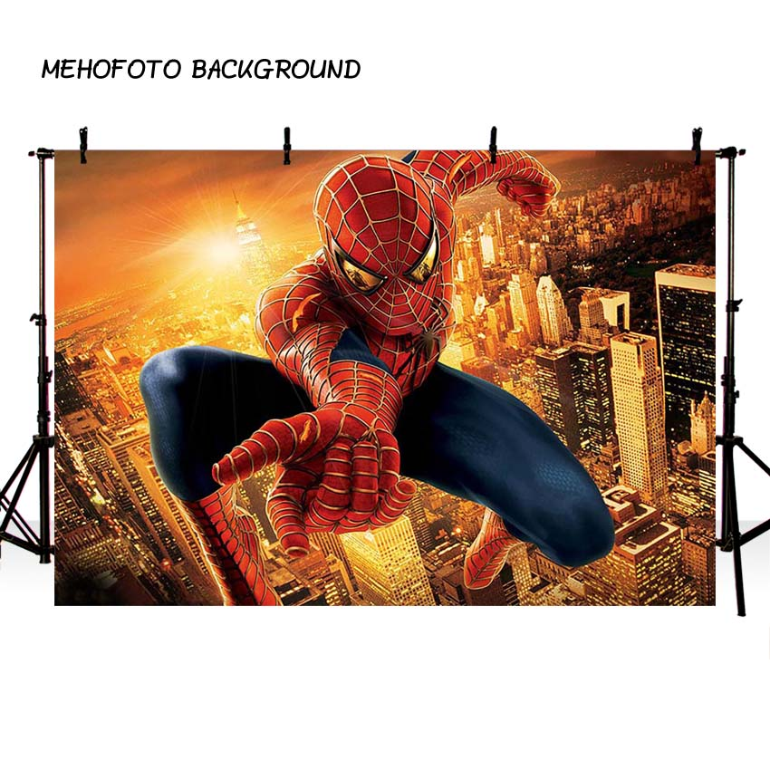Us 11 32 36 Off Mehofoto Superhero Movie Poster Photography Backdrop Spider Man Birthday Photo Background For Pictures Party Decorate In Background