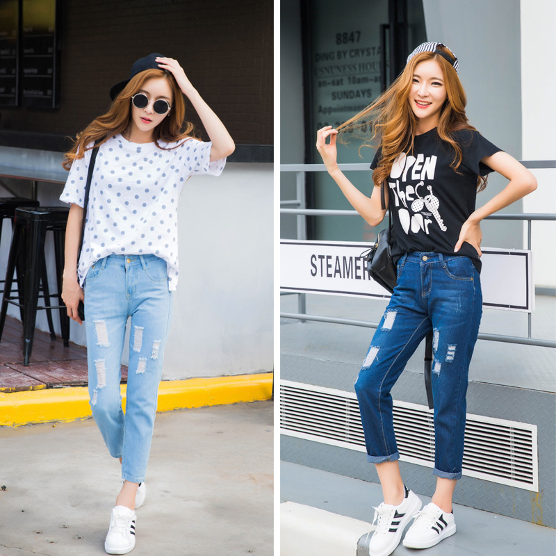 2017 New Jeans For Women Thin Section Hole Styles Jeans Female Korean Fashion Beggar Pants Straight Women's Jeans Sky Blue