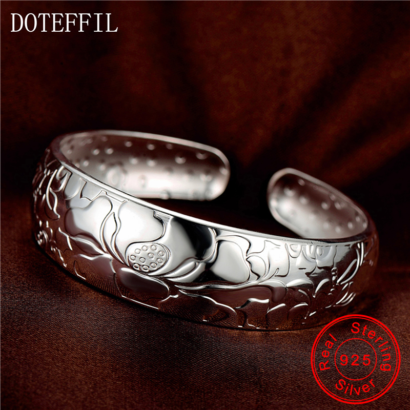 999 Silver Lotus Bracelet Female Sterling Silver Flower Bracelet Bangles Fashion Luxury Brand Silver Jewelry