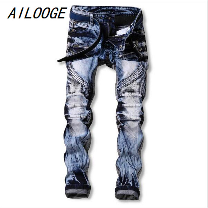 AILOOGE 2017 Men Jeans Ripped Biker Hole Denim Robin Patch Harem Straight Punk Rock Jean ...