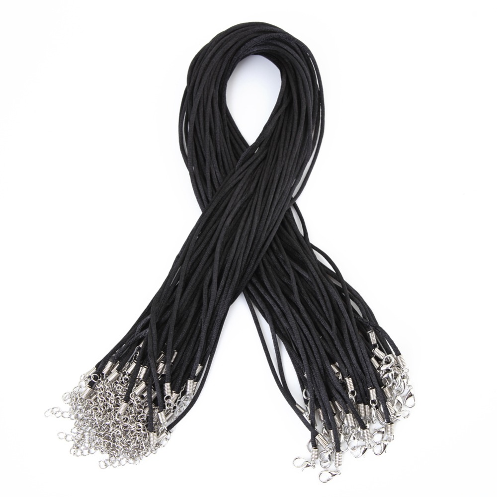 50pcs Black Satin Silk Necklace Cord 2.0mm/20'' With 2'' Extension Chain Lead&nickel Free  BT004
