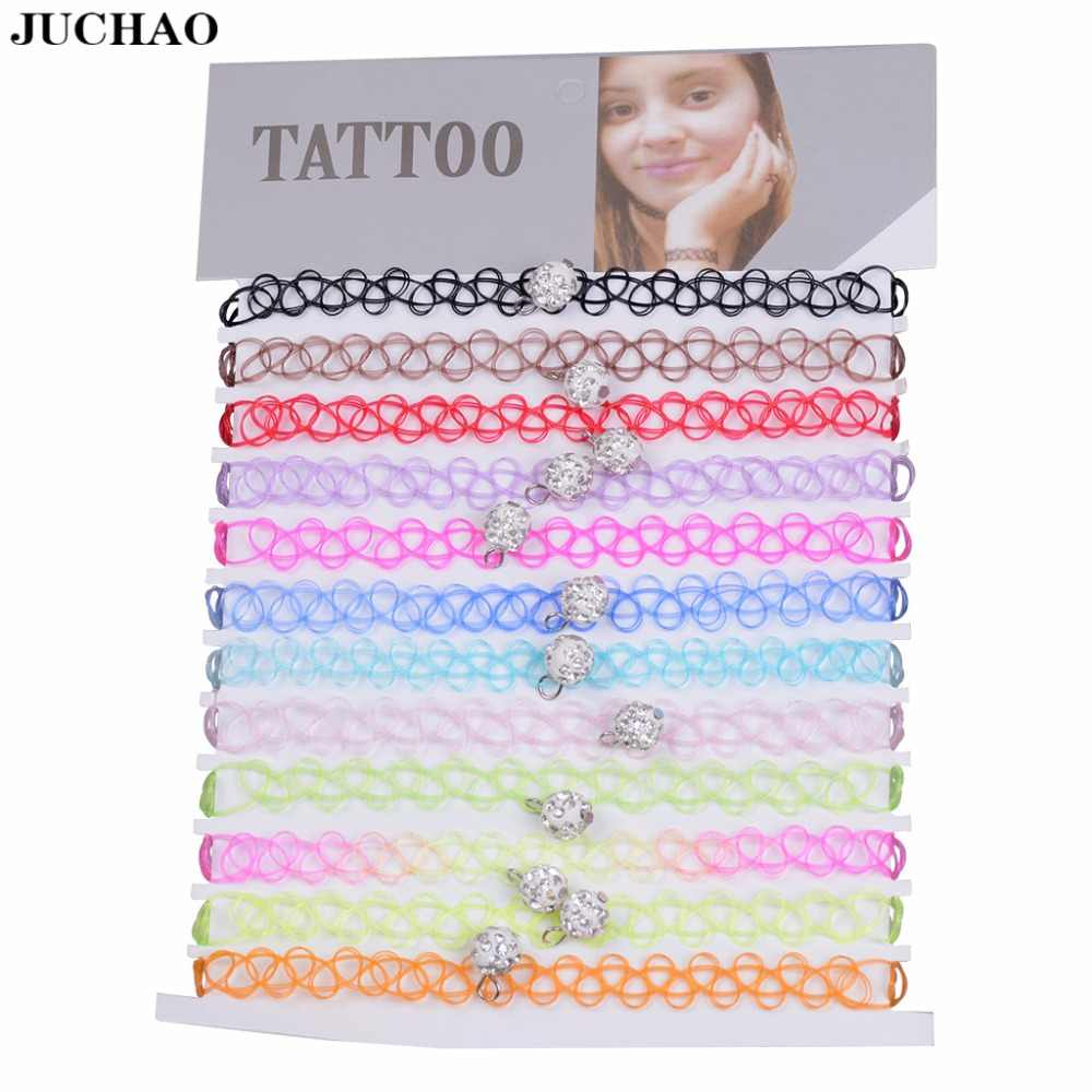 JUCHAO Soft Ceramics Crystal Collares Vintage Stretch Tattoo Choker Necklaces For Women Girl Charm Gothic Necklace Wedding gift