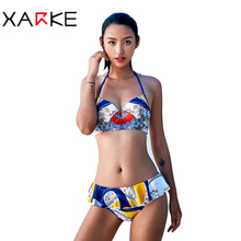 XARKE Sexy bikini women swimsuit 2018 beach bikini set backless push up pad bra spaghetti straps bikini four-piece suit swimwear women s stylish spaghetti straps tribal print bikini set