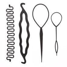4pcs/set Magic Hair Styling Accessories Set Braiders Hair Pin Bun Roller Maker Hair Braiding Twist Curler Styling DIY Tool
