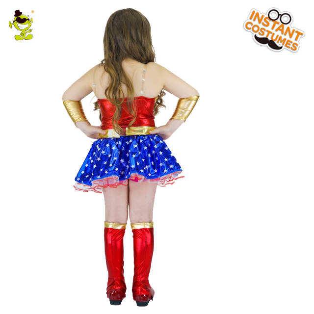 Girls Captain America Costumes Lovely Kids Star-printed Superhero Dress  Carnival Masquerade Party Brave Hero Cosplay Clothing