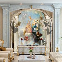 customized modern 3d European retro Roman column angel character 3d wallpaper bedroom living room sofa TV background wall